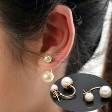 Korean Fashion Crystal Rhinestone Jewelry Women Ear Stud Earrings Double Pearl