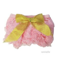 Baby Light Pink Lace Bloomers with Gold Bow Panties