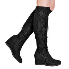 WOMENS LADIES KNEE HIGH SUEDE LACE HIDDEN WEDGE HEEL FLAT LONG BOOTS SHOES SIZE