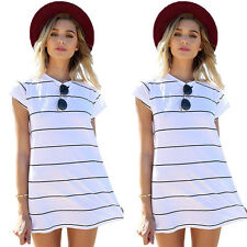 Womens Short Sleeve Striped Casual Long Shirt Mini Shift Sundress Tops Beachwear