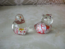 Vintage Retro Pair of Small Bird Duck Hen Murano Glass Paperweights Ornaments