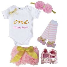 Baby Personalized Name One Bodysuit Light Pink Lace Bloomers Outfit
