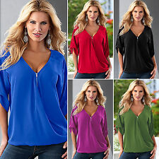 Plus Size Women Loose Casual Sexy V Neck T Shirt Blouse Summer Ladies Tee Tops