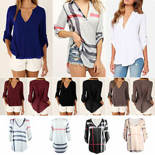 Women Ladies V Neck Long Sleeve T-shirt Casual Loose Blouse Tops Tee Oversized