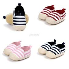 Toddler Baby Boy Girl Striped First Walker Soft Sole Footwear Casual Canva Shoes