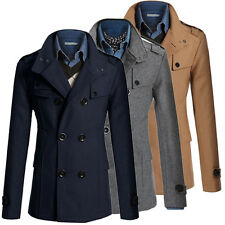 Stylish Men Winter Trench Coat Slim Long Jacket Double Breasted Overcoat Outwear