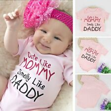 Lovely Baby Boys Girls One-piece Infant Kid MOMMY DADDY Romper Jumpsuit Clothes