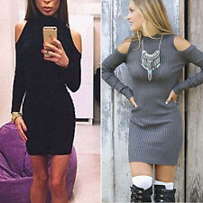 Sexy Women Long Sleeve Cold Shoulder Bocycon Party Evening Cocktail Mini Dress