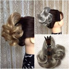DIAMOND DM48 short curly hairpiece BLACK BROWN BLONDE RED GREY Clothespin Attach