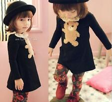 Girls Kids Long Sleeve Toddlers Autumn Cotton Bear Tops Shirt Dress 2-7Y Lovely
