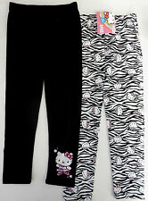 Hello Kitty Size 4 Black and Zebra Print Leggings 2-Pack Girls Clothing