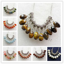 10Pcs Carved Tibet silver Mixed Gemstone Accessories Pendant bead N-15