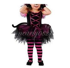 Girls Kids Baby Cat Cosplay Halloween Dress Headwear Costumes 2PCS Party Clothes