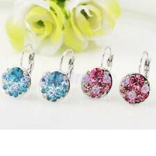 1 Pair Womens Elegant Fashion Silver Plated Rhinestone Dangle Ear Stud Earrings
