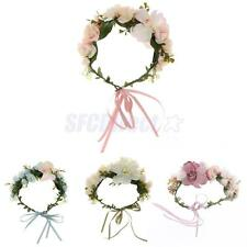 Bridal Flower Crown Headband Wedding Party Beach Boho Floral Garland Hairband