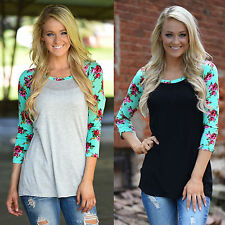 Women Lady Floral Long Sleeve T-Shirt Casual Blouse Cotton Scoop Neck Top Loose