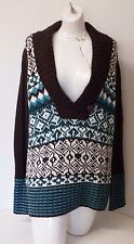 V-Neck Sweater Plu Size 2 X Brown multi Geometric Long Sleeve top