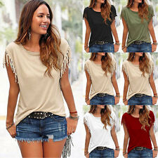 LIUS Womens Casual Tassel Knot Sleeve Solid Color Tops Blouse Tee Shirts 6 Size