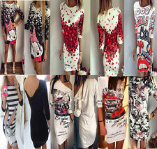 Sexy Womens Half Sleeve Cartoon Floral Bodycone Ladies Party Slim Mini Dress