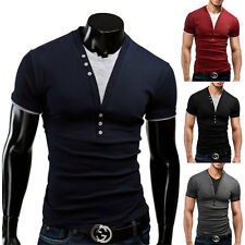 LIUS Mens Henley Muscle Slim Fitness T-shirts with Short Sleeve Tops 5 Colors