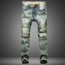 Mens Retro Straight Leg Slim Jeans Stretch Denim Acid Wash Ripped Pants Trousers