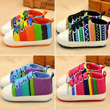 New Multi-colored Infant Baby Sole Rainbow Striped Shoes Boy & Girl Sneaker Kids