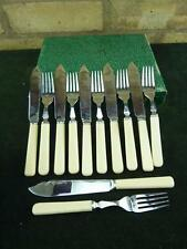Vintage Six place fisheaters set silver plated Faux Bone resin & chrome cased #2