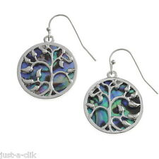 INLAID GENUINE NATURAL ABALONE PAUA SHELL TREE OF LIFE LADIES EARRINGS IN BOX