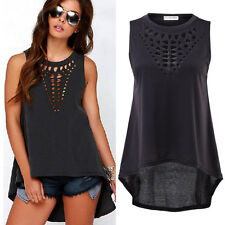 1x Sexy Black Vest Top Sleeveless Shirt Blouse Summer Cool Casual Hollow Plus
