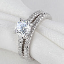 1.5CT Round White Cz 925 Sterling Silver Gold Plated Wedding Engagement Ring Set
