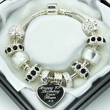 Personalised ENGRAVED Charm Bracelet Black Clear Beads Christmas Birthday Gift