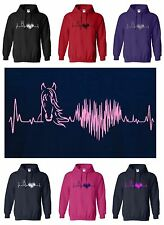 New HORSE HEARTBEAT Adult Hoody S/M/L/XL/XXL for Horse & Pony Lovers!