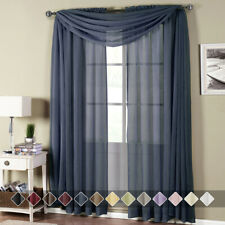 Abri Rod Pocket Crushed Sheer Curtain Panel Luxury 100% Polyester Set