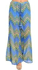 Blue Multi Chevron Sheer Chiffon Shorts Lined Wide Leg Long Pants