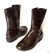 new UGG 'Madera' brown patent WATERPROOF shearling insole RAIN SNOW BOOTS 7