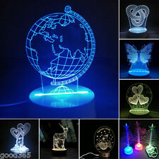 3D LED Remote Control Nightlight Color Changing Unique Home Decor Table Lamp US
