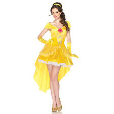 Ladies Halloween Fancy Dress Adults Golden Princess Belle Costume Party Outfits