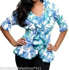 Blue/Green Floral Ruffle/Button/Loop Smocked Waist 3/4 Sleeve Top