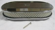 """15"""" Half Finned Polish Aluminum Oval Air Cleaner Nostalgic Factory 2nds CLASSIC"""