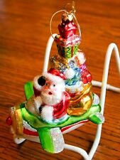 New Santa Flying Airplane Loaded with Presents Glass Christmas Holiday Ornament