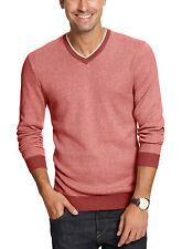 TASSO ELBA Mens Red Berry Heather Cotton V Neck Sweater Large Pullover $69
