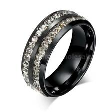 Titanium 316L Stainless Steel CZ Ring Band #6-9 Men Women Wedding Solitaire W6Q4