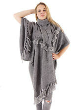 O'Neill Poncho Top Knitted top Fringe grey Roll neck warming