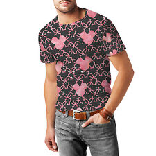 Mickey Mouse Watercolor Pink Mens Cotton Blend T-Shirt XS-3XL All-Over-Print