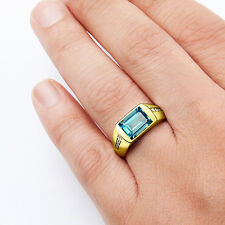 Mens 14k Gold Ring Natural DIAMONDS 0.14ct and Blue Topaz Sapphire Emerald Ruby