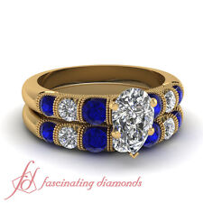 1.75 Carat Pear Shaped Untreated Diamond And Blue Sapphire Bridal Sets For Women