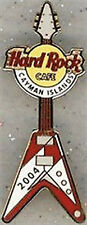 "Hard Rock Cafe CAYMAN ISLANDS 2004 Red & White Flying ""V"" GUITAR PIN #22580"
