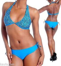 Blue Leopard Halter/Bikini Swimwear Swim Suit Set S/M/L