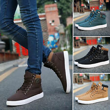 Mens Lace Up Loafers Leather Breathable Ankle Boots Snakers Outdoor Winter Shoes