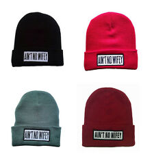 1 PC Fashion Unisex Winter Beanie Hats AIN'T NO WIFEY Knitted Ski Cap SOL